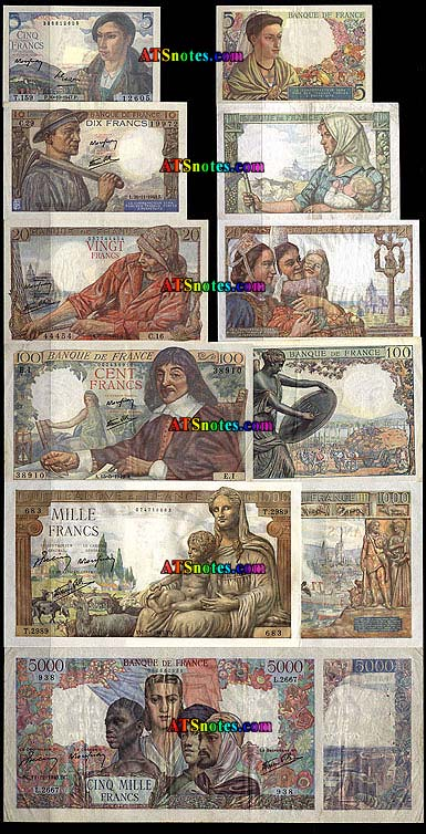 France paper money catalog and French currency history