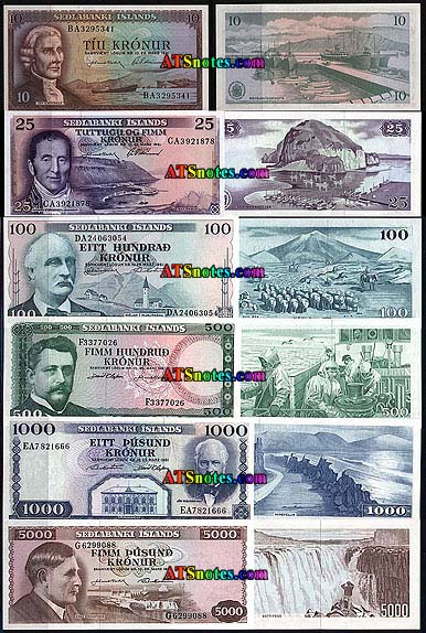 Iceland Banknotes Paper Money
