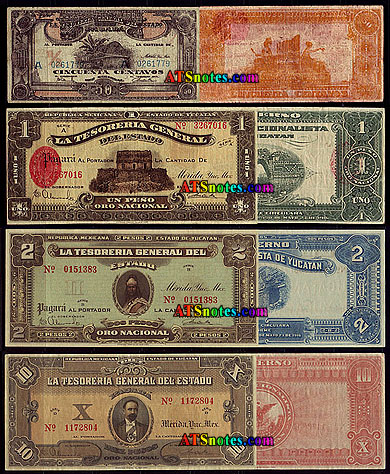 Mexico banknotes - Mexico revolutionary paper money catalog (1910-1917 ...