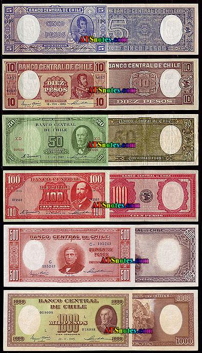 5 10 50 100 500 1 000 Pesos